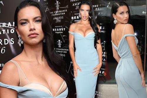 Chiếc váy trễ vai tôn vòng một của Adriana Lima