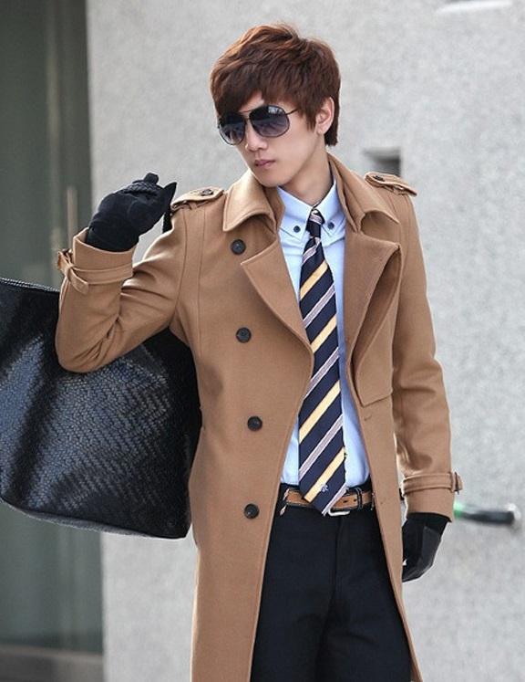 Áo khoác dạ nam dáng dài măng tô thanh lịch cho bạn nam dạo phố