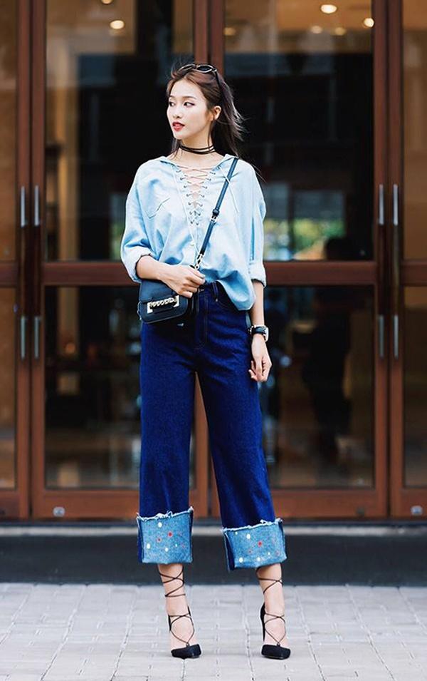 Đừng tốn công cắt ống đi, xắn gấu quần jeans thế này mới chất!