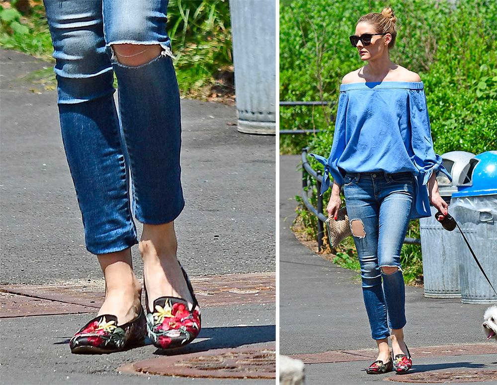 Cận cảnh đôi giày bệt thêu hoa khiến Olivia Palermo mê mẩn