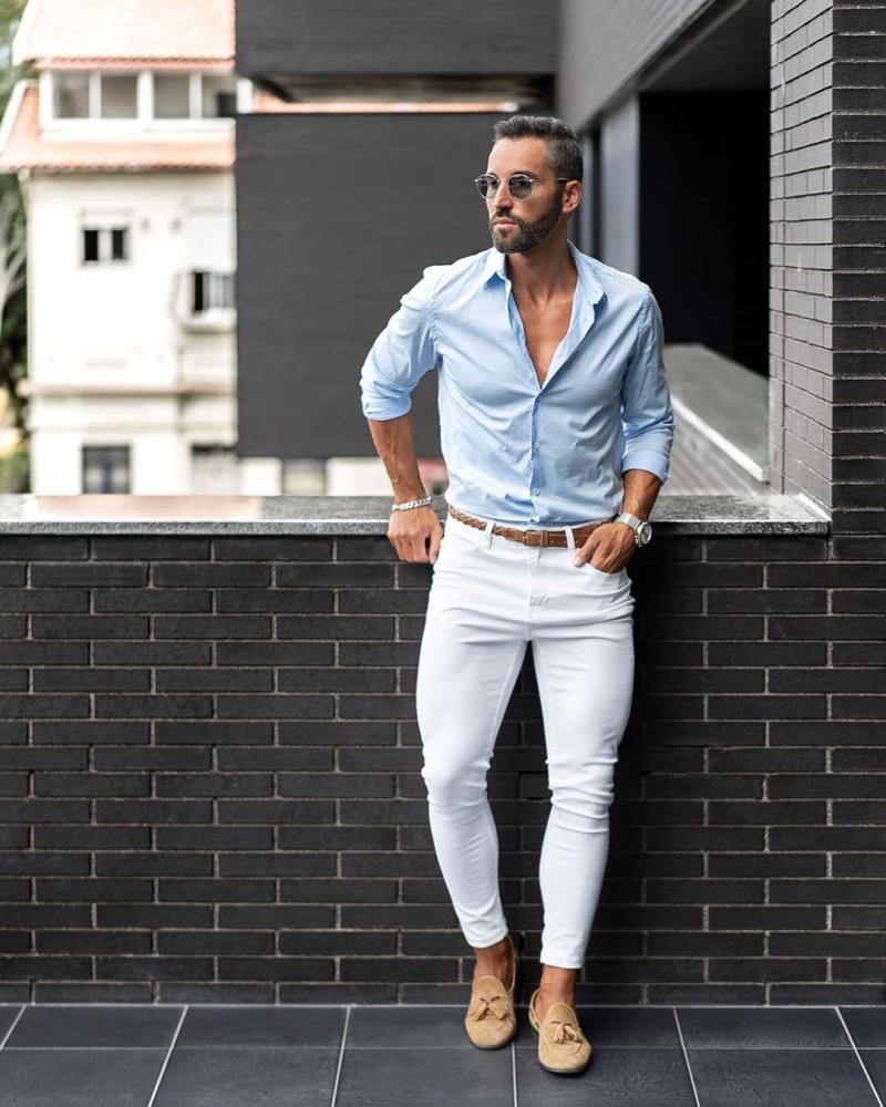 5 cách phối quần jeans trắng giúp chàng trẻ trung thanh lịch