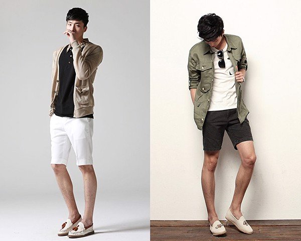 Áo sơ mi kết hợp với quần short nam kiểu dáng thanh lịch