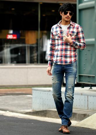Áo sơ mi nam kẻ ca-rô phong cách Hàn Quốc