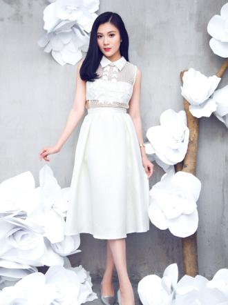 Váy đầm liền dáng xòe cách điệu gam màu đen trắng hè 2016
