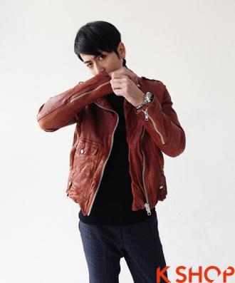 Áo khoác da nam dáng ngắn đẹp Hàn Quốc ấm áp không lạnh