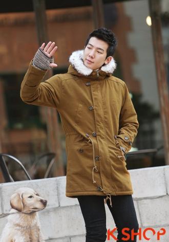 Áo khoác nam phao lông có mũ kiểu Hàn Quốc đẹp