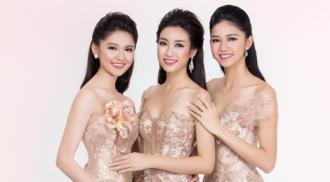 Hoa hậu Mỹ Linh và 2 á hậu đọ sắc với đầm dạ hội
