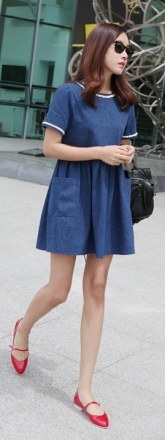 Váy đầm xòe denim đẹp thời trang Hàn Quốc