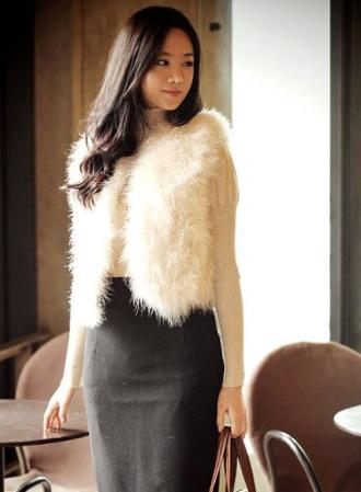 Áo khoác lông nữ đẹp cho nàng xinh như sao Hàn