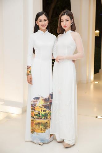 Hoa hậu Tiểu Vy và Đỗ Mỹ Linh đọ sắc trong tà áo dài duyên dáng