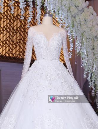 Cận cảnh chiếc váy cưới Trấn Thành của Hari Won