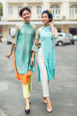 Mỹ Linh, Thanh Tú chọn áo dài lạ mắt trẻ trung