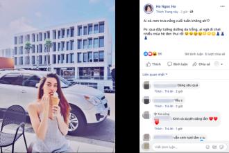 Hà Hồ diện trang phục đơn giản, vui vẻ check in facebook