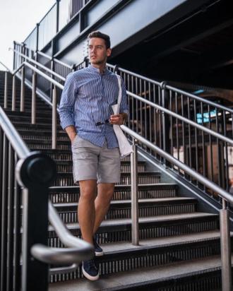 Cảm hứng phối áo sơ mi cùng quần short cho chàng xuống phố phong cách
