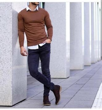 Cảm hứng phối đồ layer với áo sweater giúp chàng ấm áp
